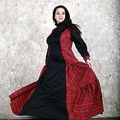 Одежда ручной работы. Ярмарка Мастеров - ручная работа Платье для пышных дам Лейла (с красным тартаном). Handmade.