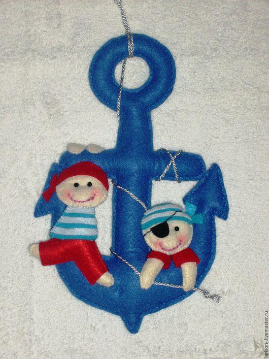 Детская ручной работы. Ярмарка Мастеров - ручная работа. Купить Украшение из фетра для детской в морском стиле. Handmade. Тёмно-синий