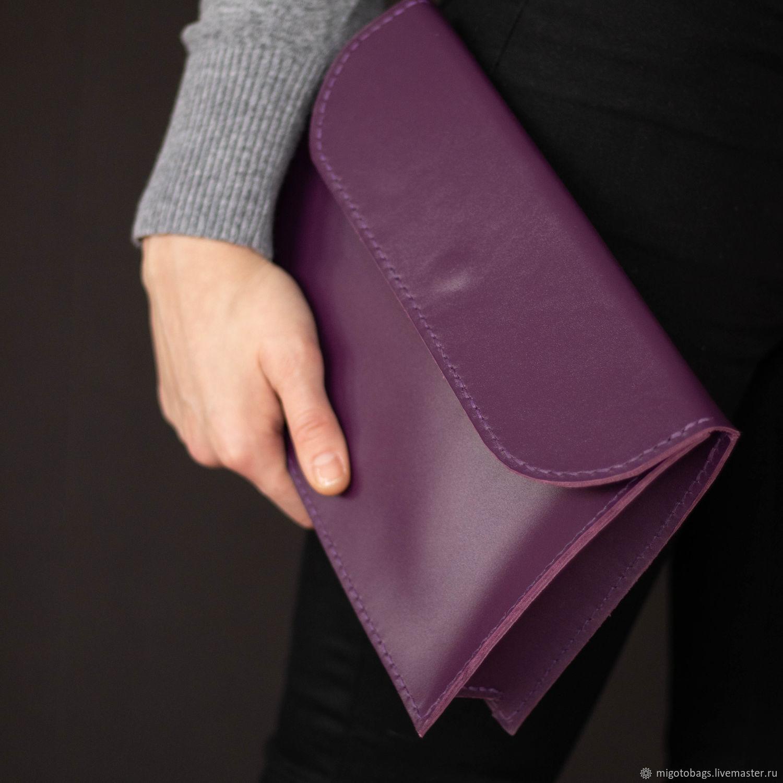 Purple clutch (leather clutch bag), Classic Bag, St. Petersburg,  Фото №1