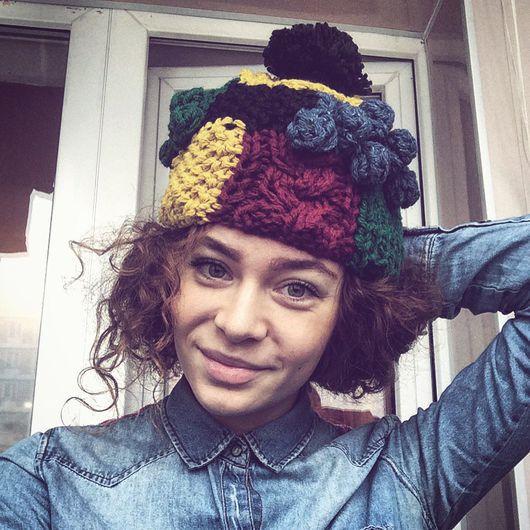 Шапки ручной работы. Ярмарка Мастеров - ручная работа. Купить Разноцветная шапка Пумпырка (укороченная, без отворота). Handmade.
