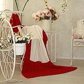 Для дома и интерьера ручной работы. Ярмарка Мастеров - ручная работа Красный белый плед из шерсти меринос вязаный спицами. Handmade.