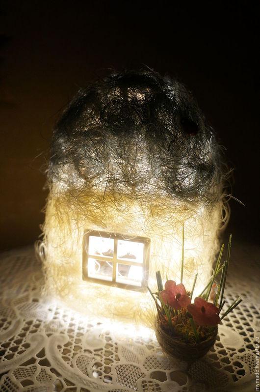 """Освещение ручной работы. Ярмарка Мастеров - ручная работа. Купить Светильник-ночник """"Домик с кашпо цветов"""". Handmade. Комбинированный, ночник"""