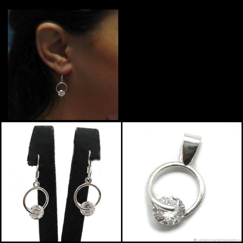Cubic Zirconia Earrings and Pendant. Cubic Zirconia, Earrings, Turin,  Фото №1