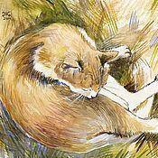 """Картины и панно ручной работы. Ярмарка Мастеров - ручная работа Резерв до 04.08 Этюд акварелью """"Рыжий кот на сухой траве"""". Handmade."""