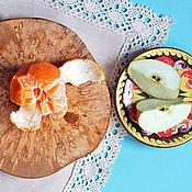 """Для дома и интерьера ручной работы. Ярмарка Мастеров - ручная работа """"Мраморный"""" березовый спил, 25 см. Handmade."""