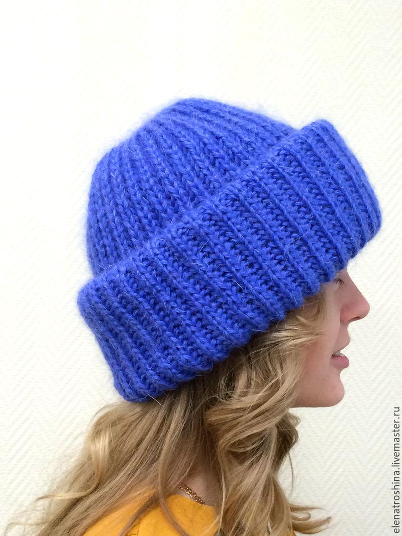 Вязание спицами шапка с отворотом английской резинкой спицами