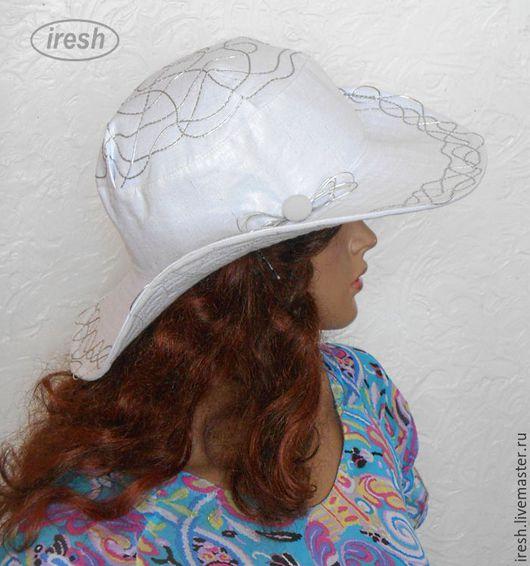 """Шляпы ручной работы. Ярмарка Мастеров - ручная работа. Купить Летняя шляпа """"Серебро"""" женская льняная. Handmade. Серебряный, гламурная"""