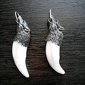 Фен-шуй и эзотерика ручной работы. Ярмарка Мастеров - ручная работа кулон крупный клык волка с серебряным навершием,доставка бесплатно. Handmade.