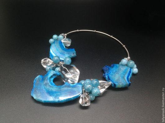 """Колье, бусы ручной работы. Ярмарка Мастеров - ручная работа. Купить Колье """"Водопад"""". Handmade. Синий, гоный хрусталь"""