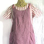 Одежда ручной работы. Ярмарка Мастеров - ручная работа платье длинное льняное красивое- прекрасивое и фартук с  карманами. Handmade.