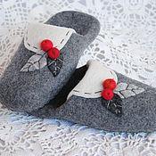 Обувь ручной работы. Ярмарка Мастеров - ручная работа Яблоки на снегу. Тапки-шлёпки валяные из шерсти.. Handmade.