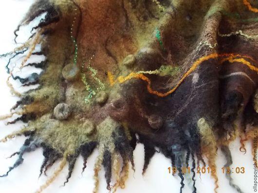 """Шарфы и шарфики ручной работы. Ярмарка Мастеров - ручная работа. Купить Бактус """"Лесная нимфа"""". Handmade. Хаки, бактус, бисер"""