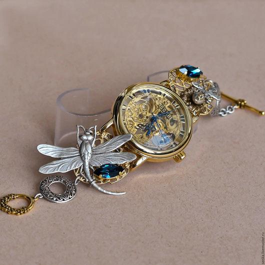 """Часы ручной работы. Ярмарка Мастеров - ручная работа. Купить Часы-скелетоны наручные """"Sapphirine"""" Резерв. Handmade. Золотой"""