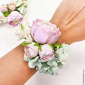 Свадебный салон ручной работы. Ярмарка Мастеров - ручная работа Браслет с цветами из полимерной глины. Handmade.