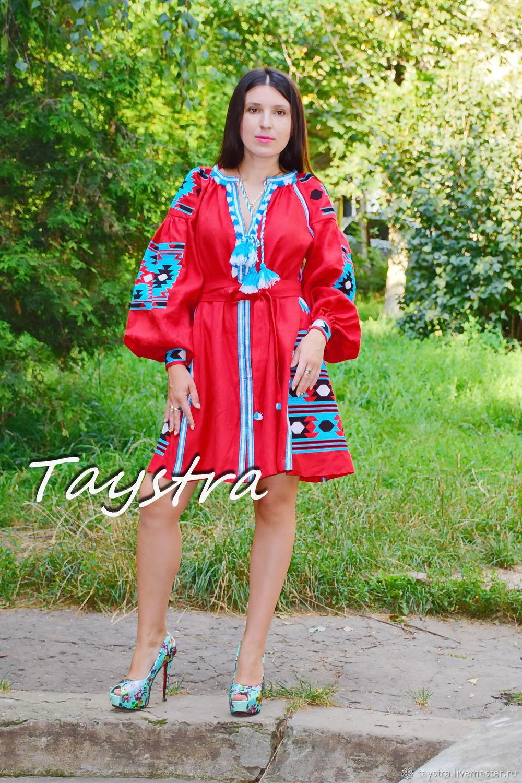 Vyshyvanka Red Short Dress Boho style Vita Kin, Dresses, Chernovtsy,  Фото №1