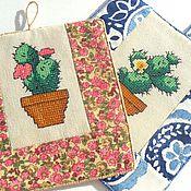 Для дома и интерьера ручной работы. Ярмарка Мастеров - ручная работа цветок кактуса прихватки для уютной кухни в подарок подруге кухонные. Handmade.