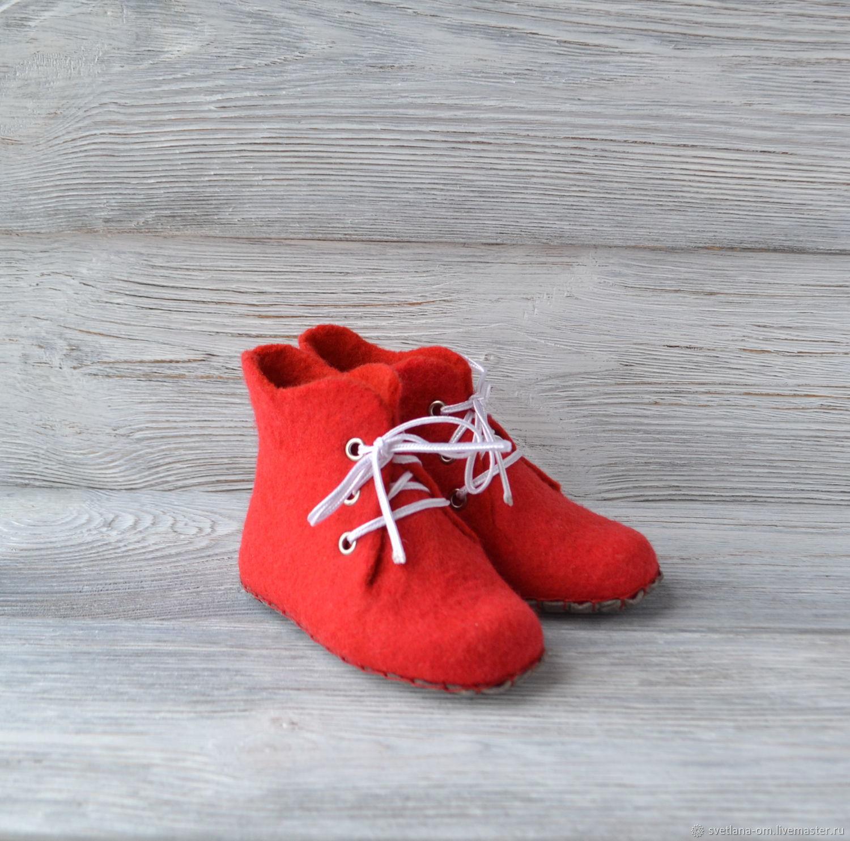 Валяные детские домашние ботиночки - тапочки Красные