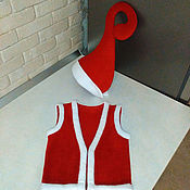 Работы для детей, handmade. Livemaster - original item The elf costume Santa`s helper red hat waistcoat costume for a photo shoot. Handmade.
