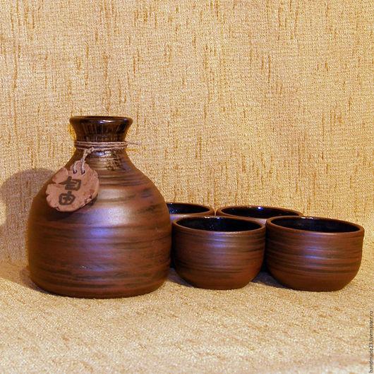 """Графины, кувшины ручной работы. Ярмарка Мастеров - ручная работа. Купить набор для саке """"5й - саке"""". Handmade. Гончарная керамика"""