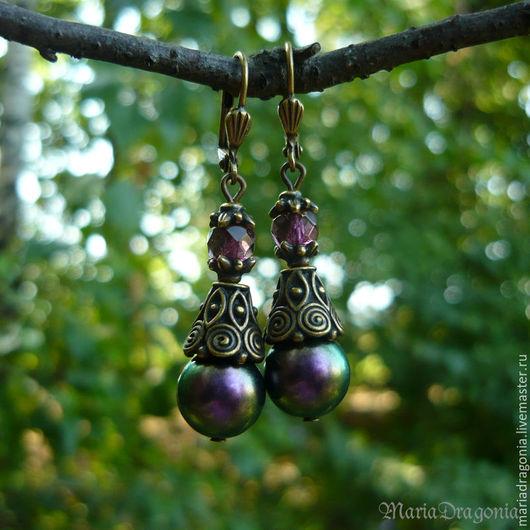 Серьги ручной работы. Ярмарка Мастеров - ручная работа. Купить Серьги Жемчужный перелив, фиолетовые (Swarovski Iridescent Purple). Handmade.