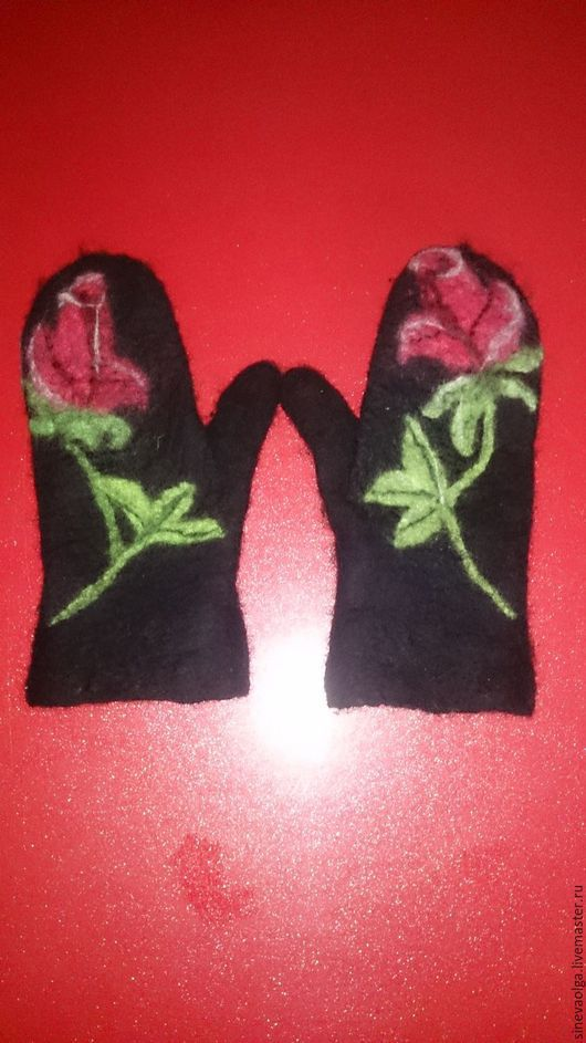 """Варежки, митенки, перчатки ручной работы. Ярмарка Мастеров - ручная работа. Купить Варежки """"Роза"""". Handmade. Черный, рисунок, войлок"""