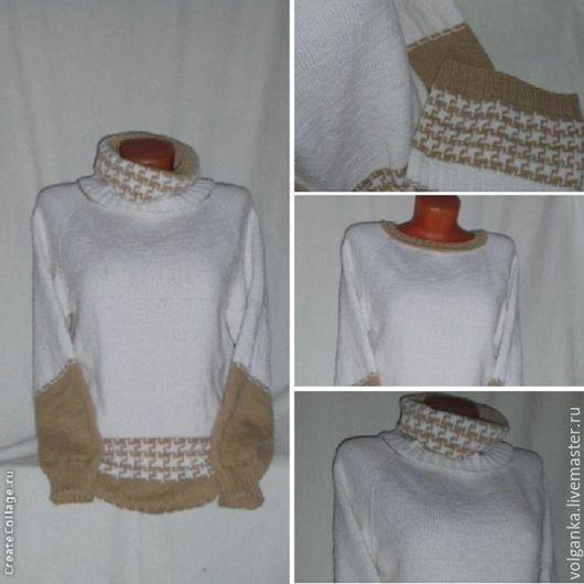 Кофты и свитера ручной работы. Ярмарка Мастеров - ручная работа. Купить Джемпер с шарфом-петлей. Handmade. Белый, на заказ
