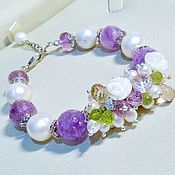 Украшения handmade. Livemaster - original item Bracelet with pearls, amethyst