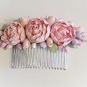 Свадебный салон ручной работы. Ярмарка Мастеров - ручная работа Свадебный гребень для волос с пионами из полимерной глины. Handmade.