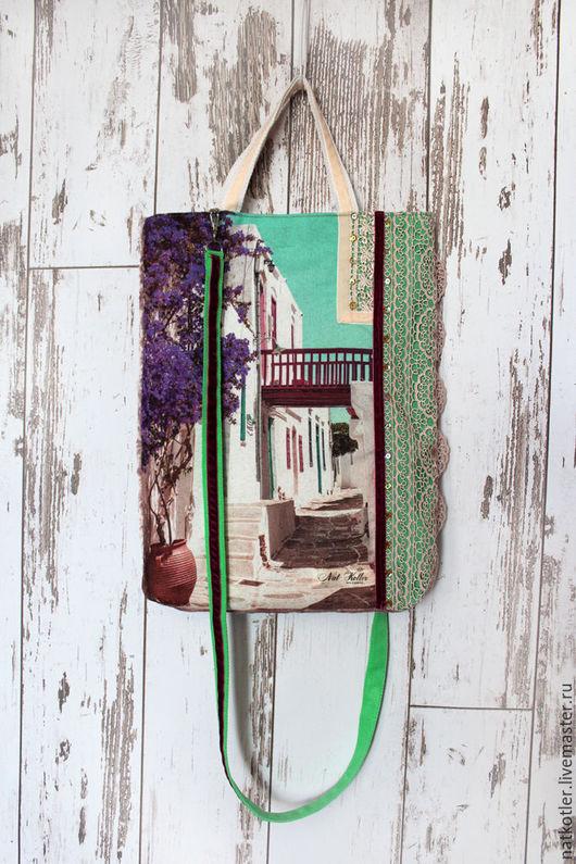 Женские сумки ручной работы. Ярмарка Мастеров - ручная работа. Купить Полдень на Санторини -1. Handmade. Комбинированный, Винтажный плюш