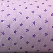 Материалы для творчества ручной работы. Ярмарка Мастеров - ручная работа 100% хлопок, Польша, фиолетовые звёзды на сиреневом фоне 1 см. Handmade.