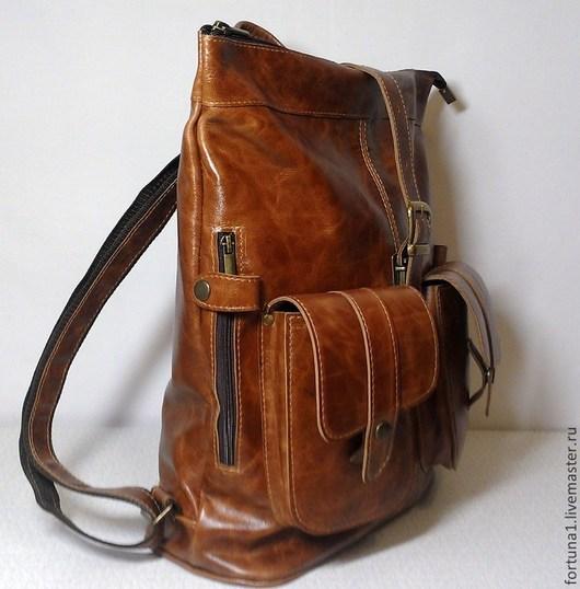 Рюкзаки ручной работы. Ярмарка Мастеров - ручная работа. Купить Рюкзак кожаный городской 21. Handmade. Рыжий, рюкзак городской