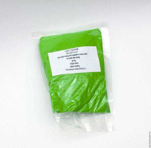 Куклы и игрушки ручной работы. Ярмарка Мастеров - ручная работа. Купить Бархатный пластик 50 гр зелёный (бархатная глина, velvet clay). Handmade.