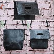 Сумки и аксессуары handmade. Livemaster - original item Crossbody bag made of eco-Leather Croco Black. Handmade.