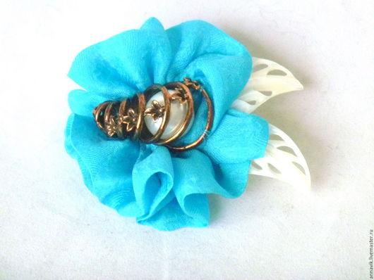 """Броши ручной работы. Ярмарка Мастеров - ручная работа. Купить Брошь """"Голубая орхидея"""". Handmade. Бирюзовый, орхидея, натуральный шелк"""