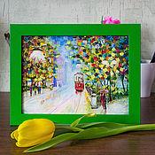 """Картины и панно ручной работы. Ярмарка Мастеров - ручная работа Картина маслом """"Вечерний трамвай"""".. Handmade."""