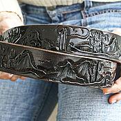 handmade. Livemaster - original item Black leather belt