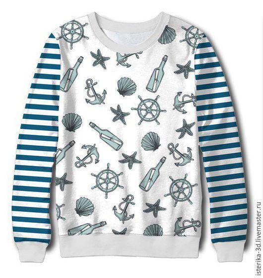 Кофты и свитера ручной работы. Ярмарка Мастеров - ручная работа. Купить Свитшот с принтом Морской бриз  - классный подарок. Handmade.
