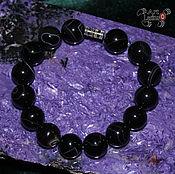 Украшения handmade. Livemaster - original item Bracelet of black agate (12mm) with screw lock. Handmade.