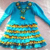 Работы для детей, handmade. Livemaster - original item Warm, knitted dress for girls.. Handmade.