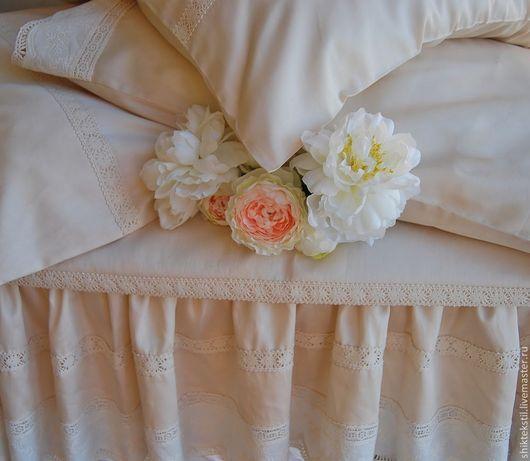 Текстиль, ковры ручной работы. Ярмарка Мастеров - ручная работа. Купить Комплект постельного белья в ретро стиле. Handmade. Бежевый