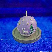 """Свечи ручной работы. Ярмарка Мастеров - ручная работа Свечи: """"Елочный шар"""" с подставкой. Handmade."""