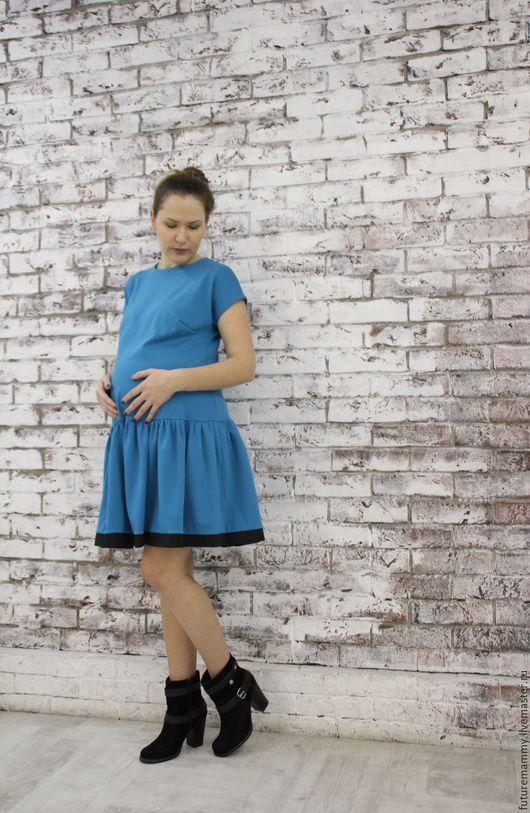 Для будущих и молодых мам ручной работы. Ярмарка Мастеров - ручная работа. Купить Платье для беременной девушки. Handmade. Синий