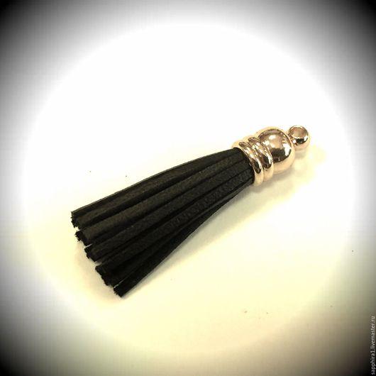 Для украшений ручной работы. Ярмарка Мастеров - ручная работа. Купить Кисточка mini черная кожа. Handmade. Черный, кисточки