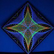 """Картины и панно ручной работы. Ярмарка Мастеров - ручная работа Фрактал из ниток на плоскости """"Полярная звезда"""". Handmade."""