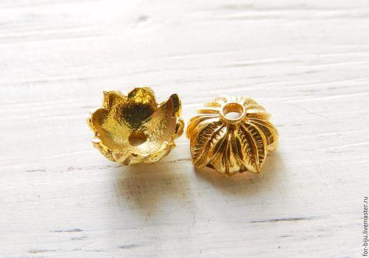 Шапочка для бусин покрытие золото 24К, размер 9,5 мм, высота 5 мм,  отверстие 2 мм, материал латунь, пр-во о. Бали , ручная работа (арт. 2270)