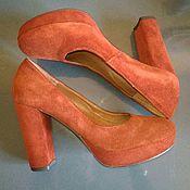 Винтажная обувь ручной работы. Ярмарка Мастеров - ручная работа Женские  туфли из натуральной замши, на высоком каблуке. Handmade.