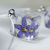 Украшения handmade. Livemaster - original item Transparent lilac earrings with real flowers Earrings-dice. Handmade.