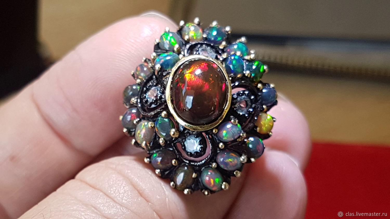 Кольцо: Королева. Черные Опалы. Топазы 925.18.5 р, Кольца, Москва,  Фото №1
