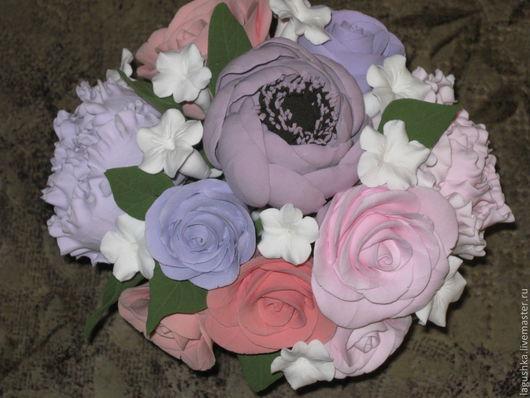 Букеты ручной работы. Ярмарка Мастеров - ручная работа. Купить Букет в пастельных тонах из полимерной глины. Handmade. Розы, анемоны