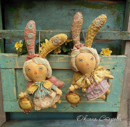 Ароматизированные куклы ручной работы. Ярмарка Мастеров - ручная работа. Купить Мартовские зайчики. Handmade. Желтый, весна, текстиль, синтепух